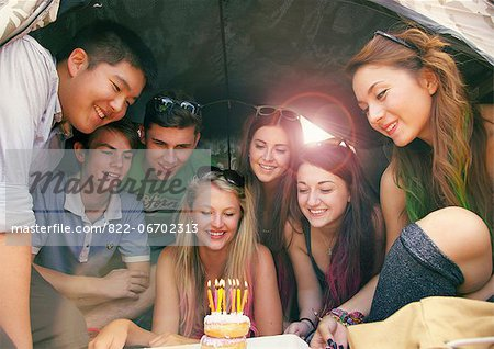 Group of Teenagers Celebrating Birthday Stock Photo - Rights-Managed, Image code: 822-06702313