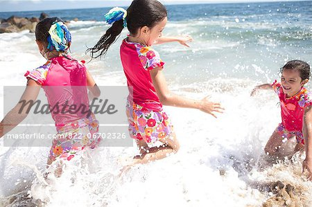 Girls in Matching Outfit Playing in Sea Water Stock Photo - Rights-Managed, Image code: 822-06702326