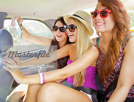 Teenage Girls Taking Self Portrait Photo Inside Car Stock Photo - Rights-Managed, Image code: 822-06702455