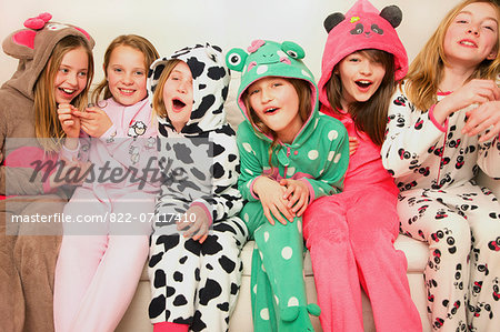 Group of Smiling Girls Wearing Animal Costumes Stock Photo - Rights-Managed, Image code: 822-07117410