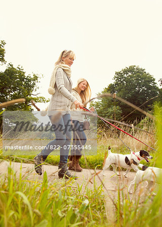 Mother and Daughter Walking Dogs Stock Photo - Rights-Managed, Image code: 822-07355445