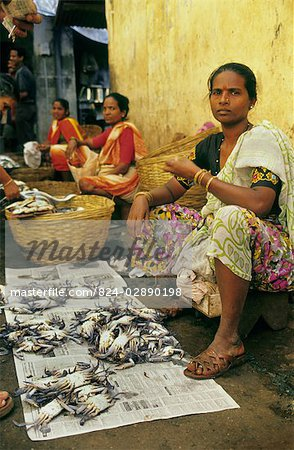 Women selling Crabs  Goa, India. Stock Photo - Rights-Managed, Image code: 824-02890198