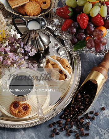 Black coffee and fruit Stock Photo - Rights-Managed, Image code: 824-07193492