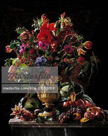 Exotic flowers and fruit centre piece Stock Photo - Rights-Managed, Image code: 824-07193709
