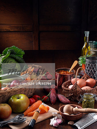 Assorted food - Still life Stock Photo - Rights-Managed, Image code: 824-07193794