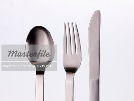 Knife fork and spoon Stock Photo - Rights-Managed, Image code: 824-07193911