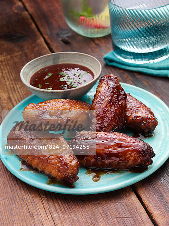 BBQ Chicken wings with BBQ sauce Stock Photo - Rights-Managed, Image code: 824-07194255