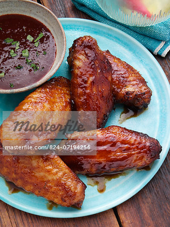 BBQ Chicken wings with BBQ sauce Stock Photo - Rights-Managed, Image code: 824-07194256