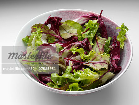 A bowl of radicchio mixed leaf salad on a white background Stock Photo - Rights-Managed, Image code: 824-07585831