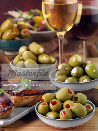 Stuffed olives with bruschetta and wine Stock Photo - Rights-Managed, Image code: 824-07586052