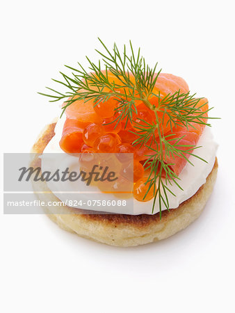 Smoked salmon roe sour cream dill blini