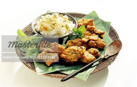 Chicken Tandoori and rice with coriander Stock Photo - Rights-Managed, Image code: 825-02302497