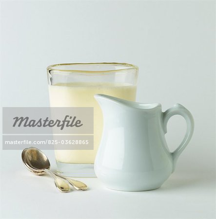 Glass and small jug of milk Stock Photo - Rights-Managed, Image code: 825-03628865