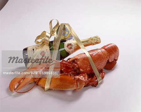 lobster, champagne and caviar Stock Photo - Rights-Managed, Image code: 825-05985831