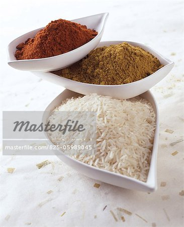 Basmati rice, curry and chilli powder Stock Photo - Rights-Managed, Image code: 825-05989045