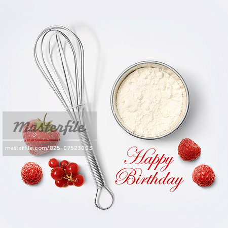 Flour and whisk for a birthday cake Stock Photo - Rights-Managed, Image code: 825-07523003