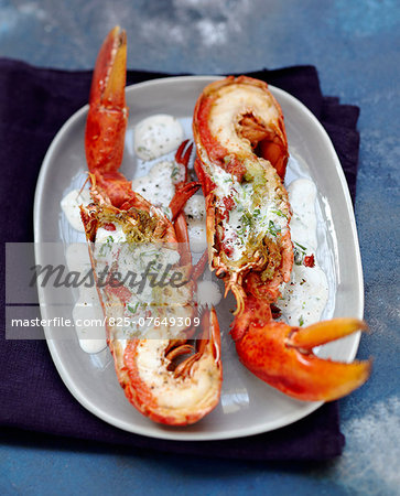 Grilled lobster in creamy sauce Stock Photo - Rights-Managed, Image code: 825-07649309
