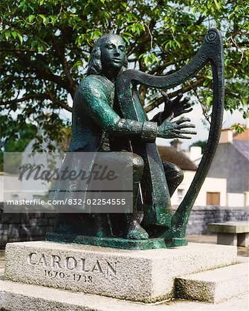 Co Leitrim, Carolan Statue, Mohill Stock Photo - Rights-Managed, Image code: 832-02254555