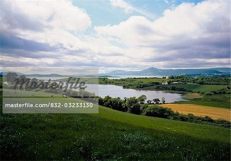 Ireland;  Field and lake Stock Photo - Rights-Managed, Image code: 832-03233130