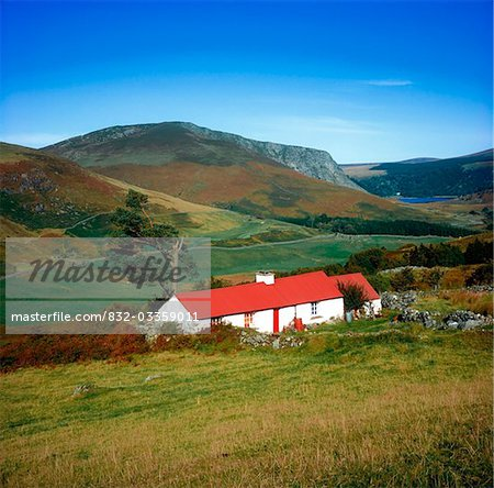 Traditional Cottages, Lough Dan, Co Wicklow Stock Photo - Rights-Managed, Image code: 832-03359011