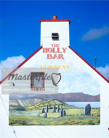 Ardgroom, Co Cork, Ireland; Mural on a traditional pub Stock Photo - Rights-Managed, Image code: 832-03359113