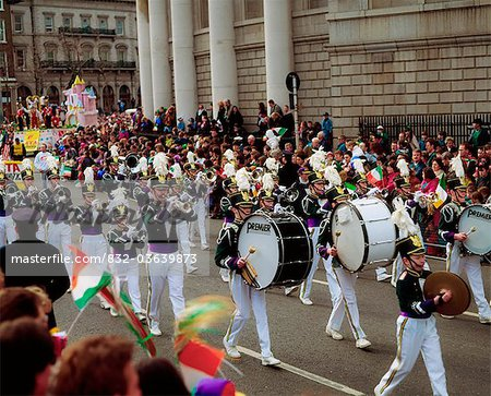 Marching Band, St. Patrick's Day Parade, College Green, Dublin, Co Dublin, Ireland Stock Photo - Rights-Managed, Image code: 832-03639873