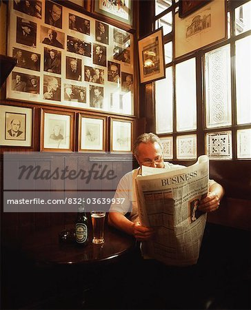 Dublin, Co Dublin, Ireland, Pub, Man Reading A Newspaper Stock Photo - Rights-Managed, Image code: 832-03639937