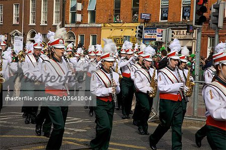 Dublin, Ireland; Clondalkin Youth Band Playing In A Parade On O'connell Street Stock Photo - Rights-Managed, Image code: 832-03641004