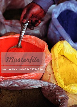 Man mixing clothes dyes in Hotan sunday market Stock Photo - Rights-Managed, Image code: 832-03724520