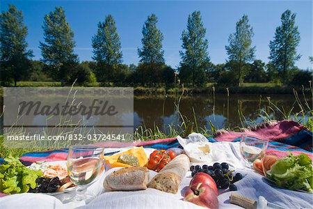 Picnic on the banks of the Nantes Brest canal, Low Angle View Stock Photo - Rights-Managed, Image code: 832-03724541