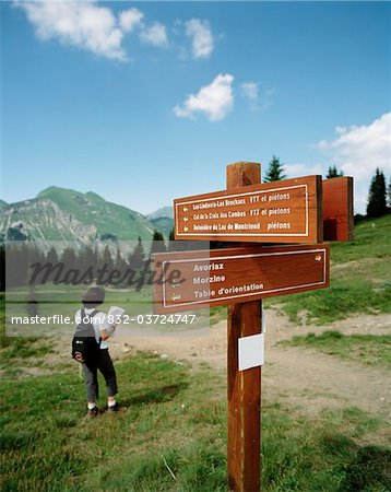 Hiker in alps reading map Stock Photo - Rights-Managed, Image code: 832-03724747