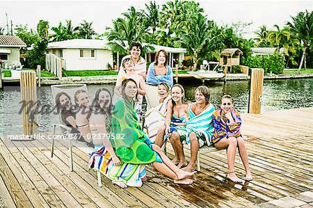 Portrait of a group of friends smiling Stock Photo - Rights-Managed, Image code: 837-02379582