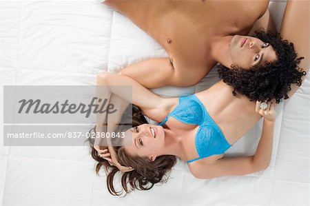 High angle view of a young couple romancing Stock Photo - Rights-Managed, Image code: 837-02380843