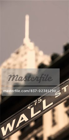 Low angle view of an information sign, Wall Street, Manhattan, New York City, New York State, USA Stock Photo - Rights-Managed, Image code: 837-02381290
