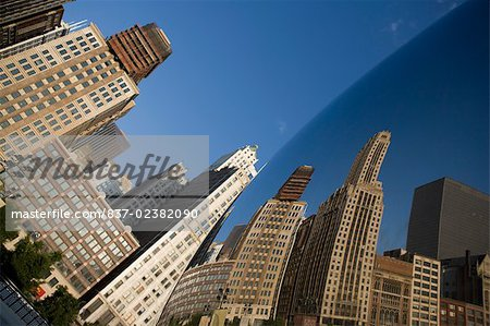 Reflection of buildings on a sculpture, The Bean, Cloud Gate, Millennium Park, Chicago, Illinois, USA