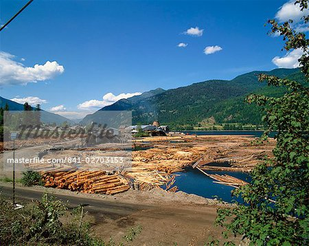 Lumber mill near Chase, British Columbia, Canada, North America Stock Photo - Rights-Managed, Image code: 841-02703153