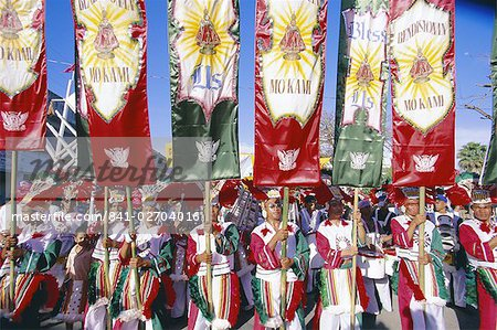 Procession with banners, Mardi Gras carnival, Ati Atihan festival, Kalibo, island of Panay, Philippines, Southeast Asia, Asia Stock Photo - Rights-Managed, Image code: 841-02704016