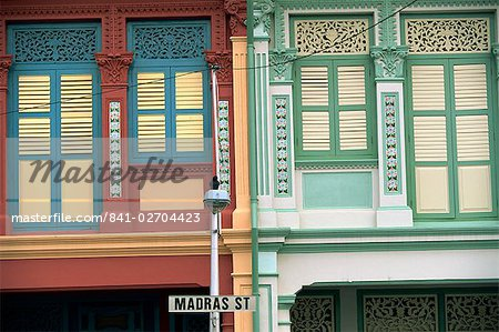 Close-up of old houses with shuttered windows and pilasters with decorative mouldings, and sign for Madras Street in Little India, Singapore, Southeast Asia, Asia Stock Photo - Rights-Managed, Image code: 841-02704423