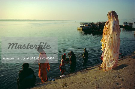 The Ganges (Ganga) River waterfront, Varanasi (Benares), Uttar Pradesh, India Stock Photo - Rights-Managed, Image code: 841-02704504
