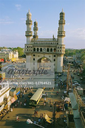 The Char Minar (Charminar) triumphal arch in Hyderabad, Andhra Pradesh, India Stock Photo - Rights-Managed, Image code: 841-02704521