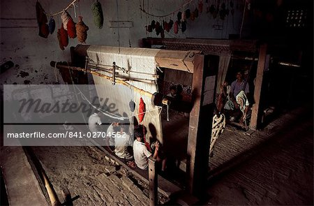 Carpet loom, Varanasi (Benares), Uttar Pradesh state, India, Asia Stock Photo - Rights-Managed, Image code: 841-02704552