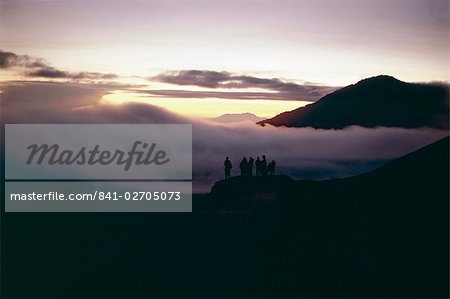 People watching the sunrise, Mount Bromo, island of Java, Indonesia, Asia