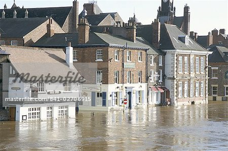 Flooded street in 2002, York, Yorkshire, England, United Kingdom, Europe Stock Photo - Rights-Managed, Image code: 841-02706915