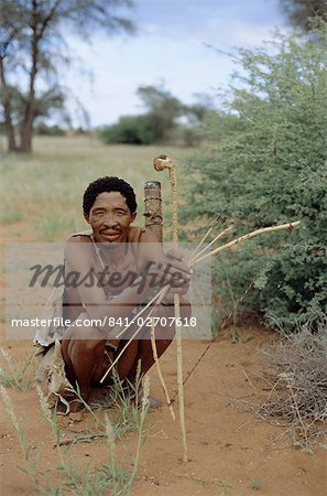 Bushman with bow and arrows, Intu Afrika game reserve, Namibia, Africa Stock Photo - Rights-Managed, Image code: 841-02707618