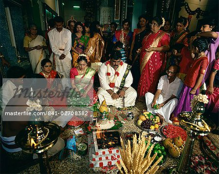 Traditional Hindu wedding, Little India, Singapore, Southeast Asia, Asia Stock Photo - Rights-Managed, Image code: 841-02708382