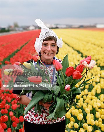 National costume and tulips, Holland, Europe