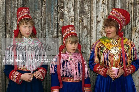 Portrait of Sami girls and woman, Lapps, in traditional costume for indigenous tribes meeting, at Karesuando, Sweden, Scandinavia, Europe Stock Photo - Rights-Managed, Image code: 841-02711648