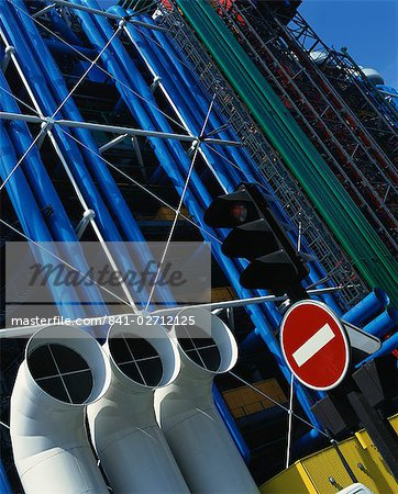 Exterior detail of pipes at the Pompidou Centre, Beaubourg, Paris, France, Europe Stock Photo - Rights-Managed, Image code: 841-02712125