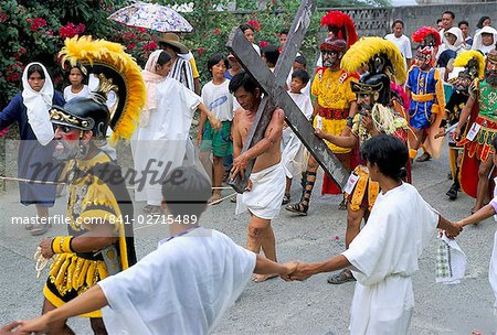 Christ of Calvary in Easter procession, Morionnes, island of Marinduque, Philippines, Southeast Asia, Asia Stock Photo - Rights-Managed, Image code: 841-02715489