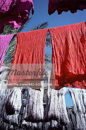 Red dyed cloth and silk drying, Marrakech, Morocco, North Africa, Africa Stock Photo - Rights-Managed, Image code: 841-02720368